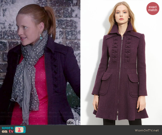 Nanette Lepore Provocative Tweed Coat worn by Katie Leclerc on Switched at Birth
