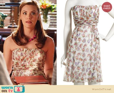 Nanette Lepore Shirred Strapless Dress worn by Kaitlyn Black on Hart of Dixie