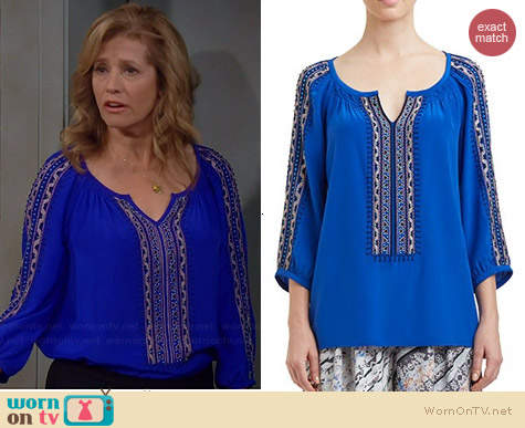 Nanette Lepore Vagabond Top in Azul worn by Nancy Travis on Last Man Standing