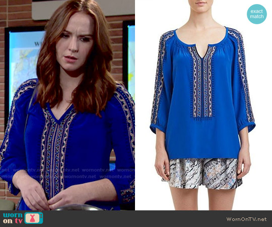 Nanette Lepore Vagabond Top in Azul worn by Camryn Grimes on The Young & the Restless