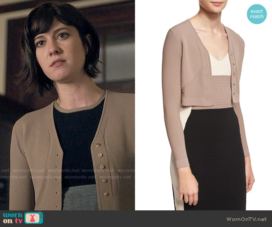 Narciso Rodriguez Button-Front Cropped Cardigan worn by Mary Elizabeth Winstead on BrainDead