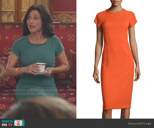 Narciso Rodriguez Cap-Sleeve Round-Neck Crepe Dress worn by Julia Louis-Dreyfus on Veep