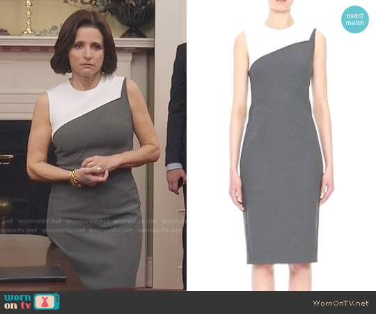 Narciso Rodriguez Foldover Detail Stretch Piqué Sheath Dress worn by Julia Louis-Dreyfus on Veep