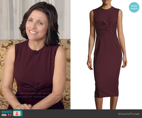 Narciso Rodriguez Sleeveless Twist-Front Sheath Dress worn by Julia Louis-Dreyfus on Veep