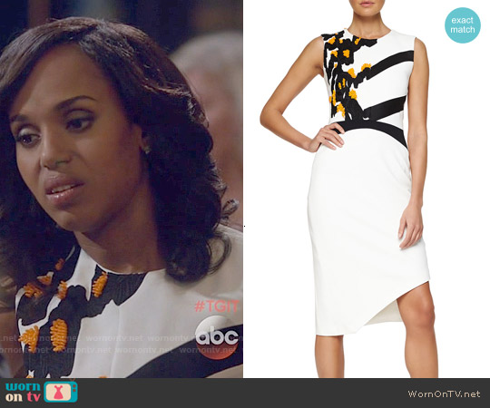 Narciso Rodriguez Floral-Embroidered Asymmetric Crepe Dress worn by Kerry Washington on Scandal