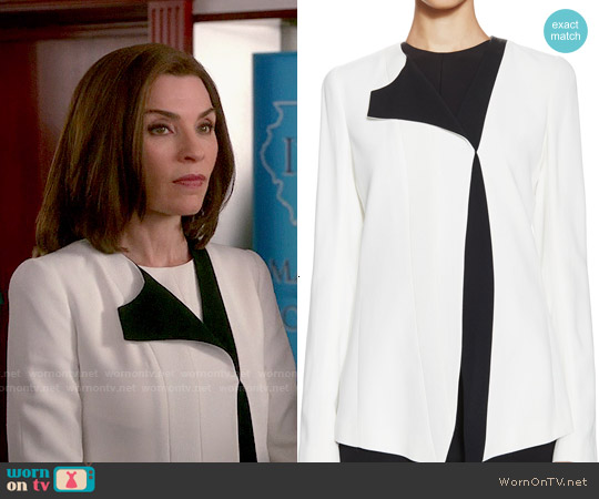 Narciso Rodriguez Crepe One Sided Lapel Jacket worn by Julianna Margulies on The Good Wife