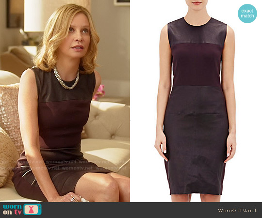 Narciso Rodriguez Leather Paneled Sheath Dress worn by Calista Flockhart on Supergirl