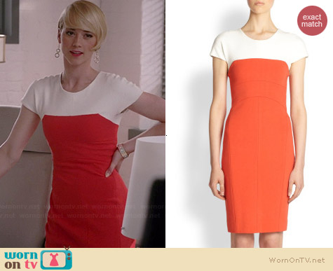 Narciso Rodriguez Pebble Crepe Dress worn by Karine Vanasse on Revenge