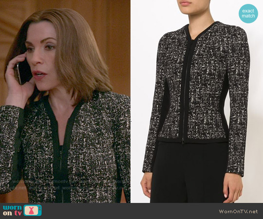 Narciso Rodriguez Printed Tweed Jacket worn by Julianna Margulies on The Good Wife