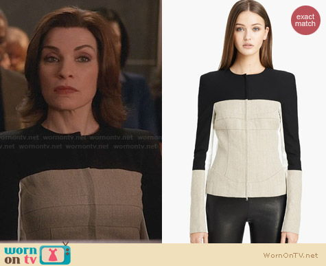 Narciso Rodriguez Stretch Linen Jacket worn by Julianna Margulies on The Good Wife
