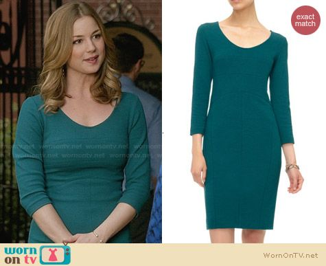 Narciso Rodriguez Teal Scoop Neck Dress worn by Emily VanCamp on Revenge