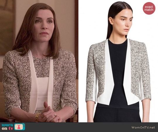 Narciso Rodriguez Tweed + Scuba Crepe Jacket worn by Julianna Margulies on The Good Wife