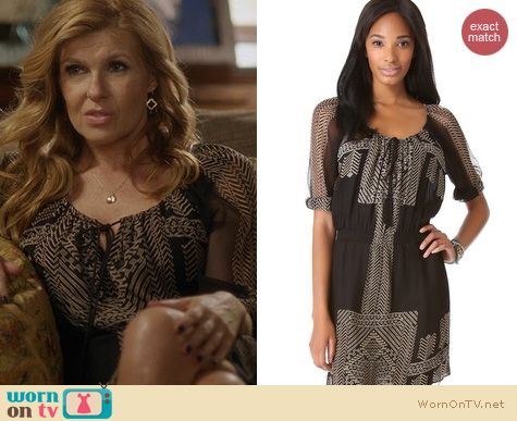 Nashville Fashion: Cynthia Vincent Egyptian Scarf Print Dress worn by Connie Britton