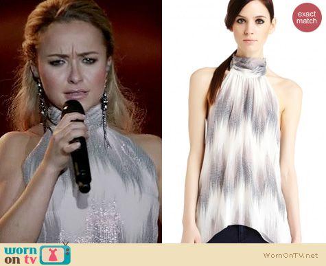 Nashville Fashion: Erin Fetherston 'Harlow' metallic ikat halter top worn by Hayden Panettiere