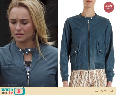 Nashville Fashion: Etoile Isabel Marant Calista lamskin jacket in blue worn by Hayden Panettiere