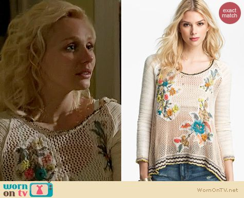 Nashville Fashion: Free People Menagerie embroidered sweater worn by Clare Bowen