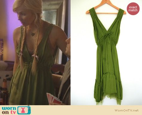 Nashville Fashion: Glam Vintage Soul Green Silk Dress worn by Clare Bowen