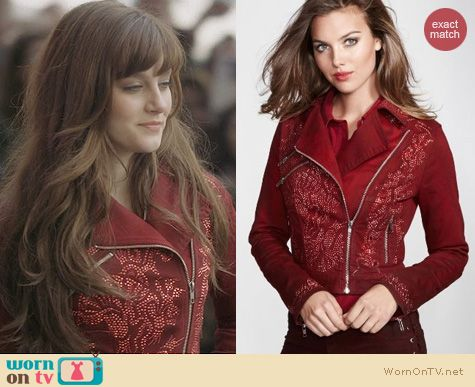 Fashion of Nashville: Guess Embellished Denim Biker Jacket worn by Layla Grant