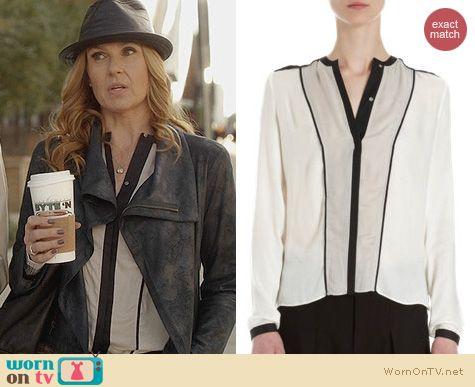 Nashville Fashion: Helmut Lang Contrast Trimmed Blouse worn by Rayna Jaymes