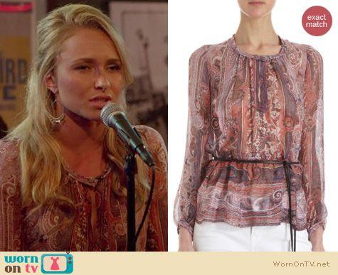 Nashville Fashion: Isabel Marant Paisley silk blouse worn by Hayden Panettiere