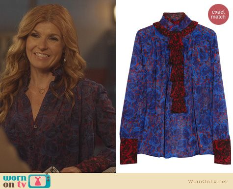Nashville Fashion: Just Cavalli Printed Chiffon Ruffle Blouse worn by Connie Britton