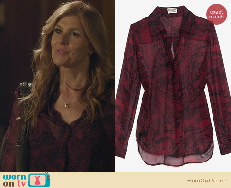 Nashville Fashion: L'Agence Red Python Print Blouse worn by Connie Britton