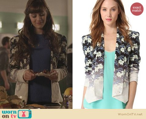 Nashville Fashion: Rebecca Minkoff Becky Jacket in Floral Santa worn by Aubrey Peeples