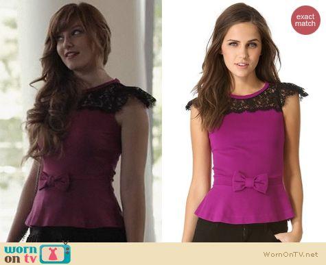Nashville Fashion: RED Valentino Lace Peplum Top worn by Aubrey Peeples