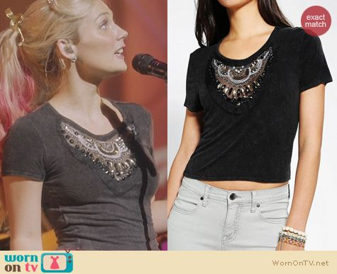 Nashville Fashion: Ecote Embellished Acid Wash Top from Urban Outfitters worn by Clare Bowen