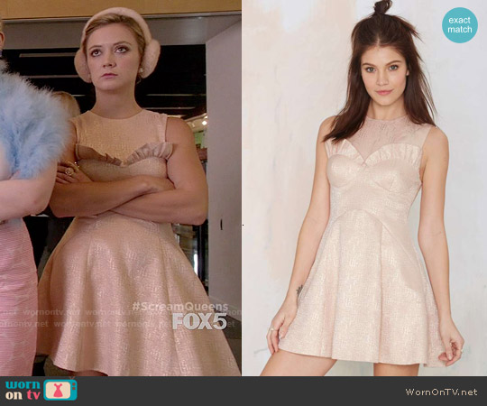 Nasty Gal Heavy Metallic Jacquard Dress worn by Billie Lourd on Scream Queens