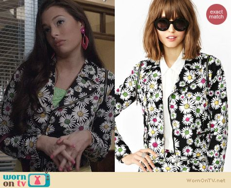Nasty Gal Neon Daisy Denim Jacket worn by Chloe Bridges on The Carrie Diaries