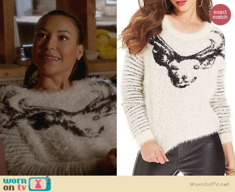 Naya Rivera Fashion: Guess Reindeer Fuzzy Intarsia Sweater worn on Glee