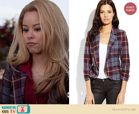 Necessary Objects Grey Plaid Open Blazer worn by Cierra Ramirez on The Fosters
