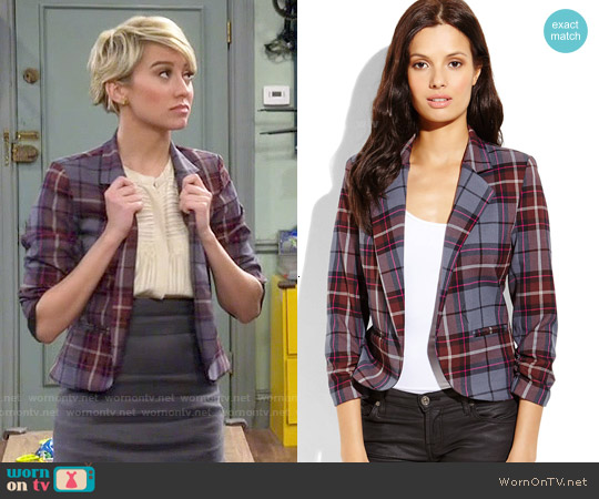 Necessary Objects Plaid Open Blazer worn by Chelsea Kane on Baby Daddy