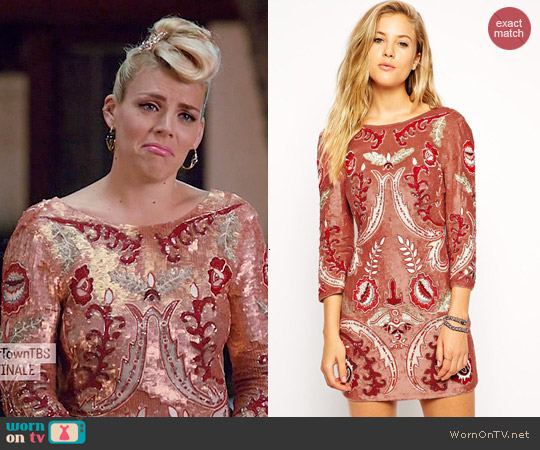 Needle & Thread Embellished Tapestry Motif Dress worn by Busy Philipps on Cougar Town