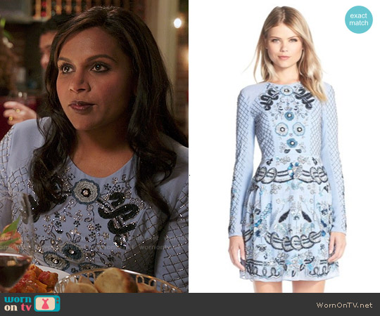 Needle & Thread Embellished Georgette Fit & Flare Dress worn by Mindy Kaling on The Mindy Project