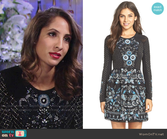 Needle & Thread Embellished Georgette Fit & Flare Dress worn by Christel Khalil on The Young & the Restless