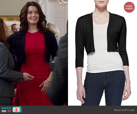 Neiman Marcus 3/4 Sleeve Silk Cashmere Shrug worn by Bellamy Young on Scandal