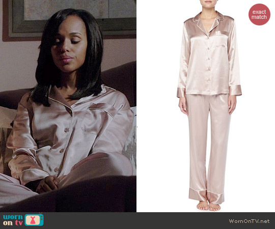 Neiman Marcus Contrast Trim Silk Pajamas in Brulee worn by Kerry Washington on Scandal