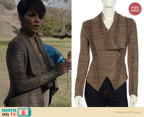 Neiman Marcus Pleated and Tucked Leather Jacket worn by Halle Berry on Extant