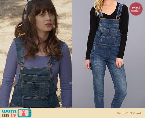 New Girl Fashion: Blank NYC Denim Overalls worn by Zooey Deschanel
