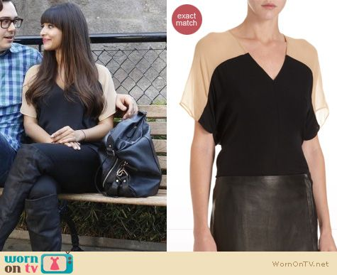 New Girl Fashion: Mason by Michelle Mason vneck colorblock top worn by Hanna Simone