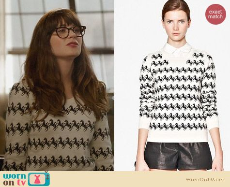 Fashion of New Girl: French Connection Horse Sweater worn by Zooey Deschanel