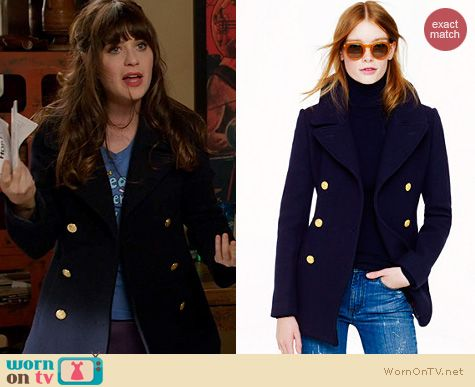 Fashion of New Girl: J. Crew Majesty Peacoat in Navy worn by Zooey Deschanel