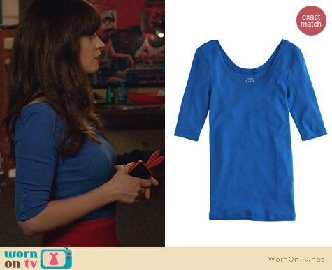 Fashion of New Girl: J. Crew Perfect Fit Ballet Button Tee worn by Zooey Deschanel