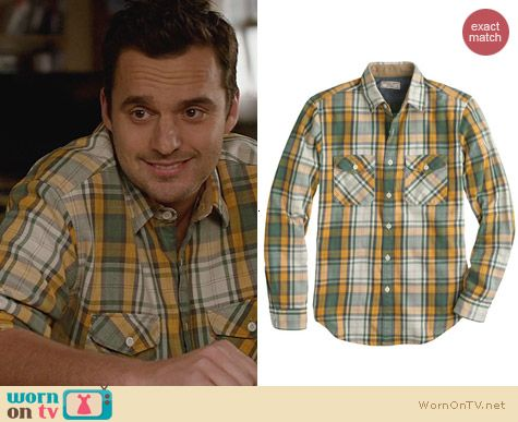 New Girl Fashion: J. Crew Heavyweight flannel shirt in bronzed sun plaid worn by Jake Johnson