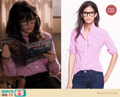 Wornontv jess s pink checkered shirt on new girl zooey deschanel