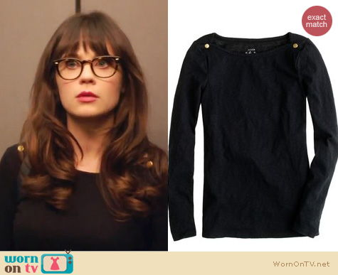 New Girl Fashion: J. Crew Painter boatneck top worn by Zooey Deschanel