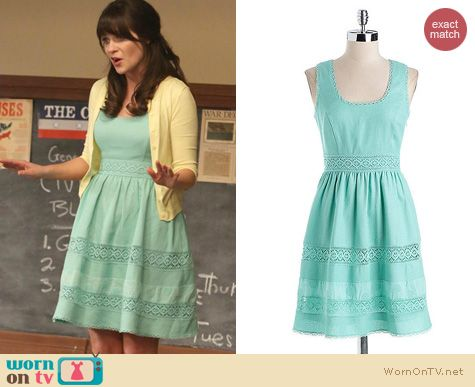New Girl Fashion: Jessica Simpson Basket Weave dress worn by Zooey Deschanel