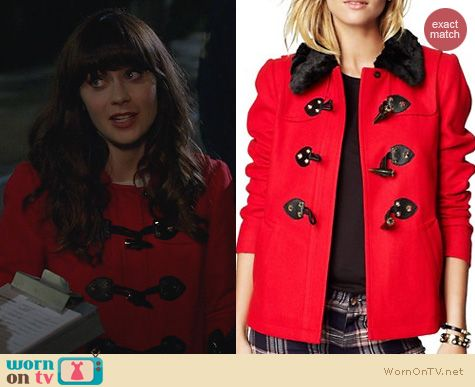 WornOnTV: Jess's red toggle coat on New Girl | Zooey Deschanel ...